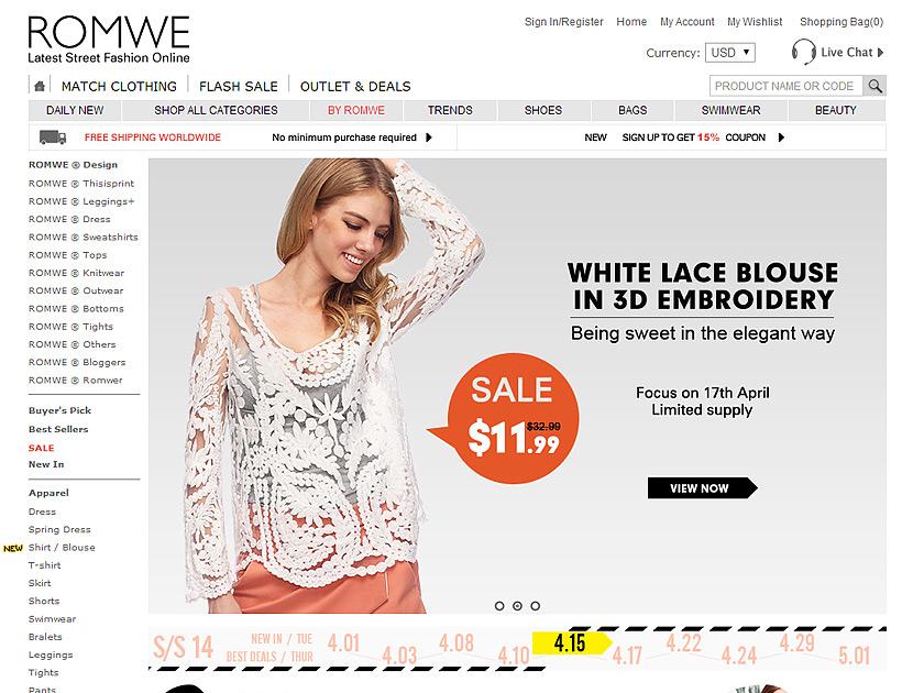 Китайский интернет магазин одежды и обуви Romwe
