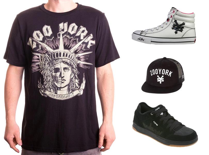 На фото — футболка, кепка, кроссовки и кеды бренда Zoo York