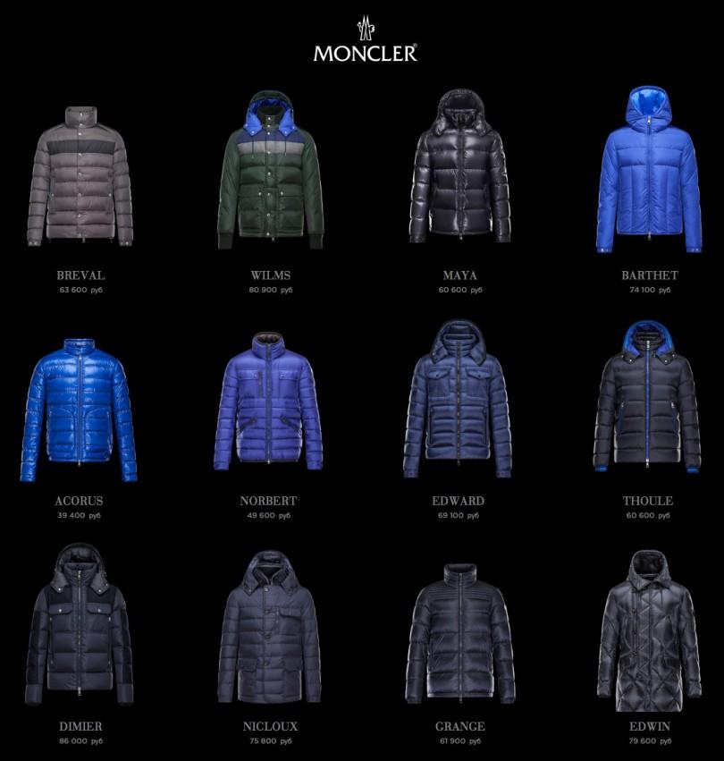 Цены на новую коллекцию мужских пуховиков Moncler